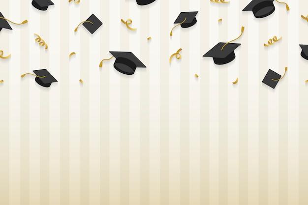Marco de sombreros de graduación vector gratuito
