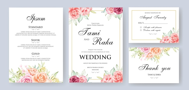 Marco de tarjeta floral boda acuarela Vector Premium