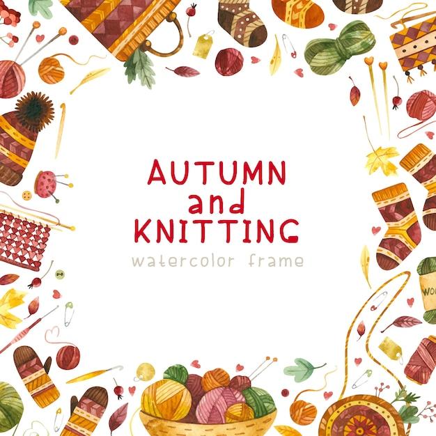 Marco temático otoño y tejido vector gratuito