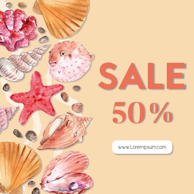 Marco temático sealife con estrellas de mar y conchas, plantilla de ilustración en color de tonos cálidos. vector gratuito
