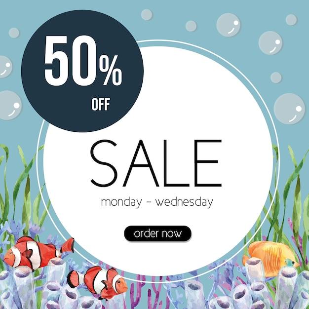 Marco temático sealife con peces payaso y coral, plantilla de ilustración colorida creativa vector gratuito