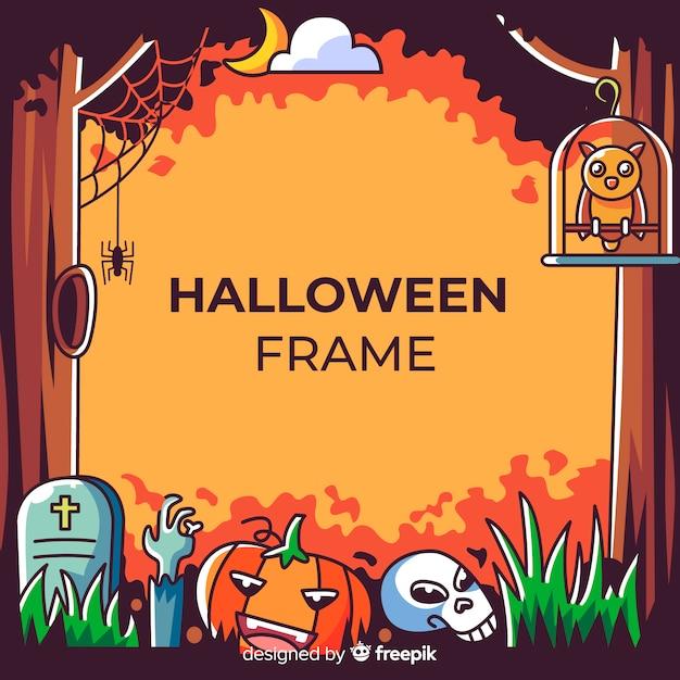 Marco terrorífico de halloween con diseño plano vector gratuito