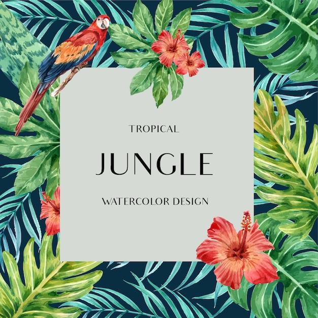 Marco tropical frontera verano con plantas follaje exótico, acuarela creativa. vector gratuito