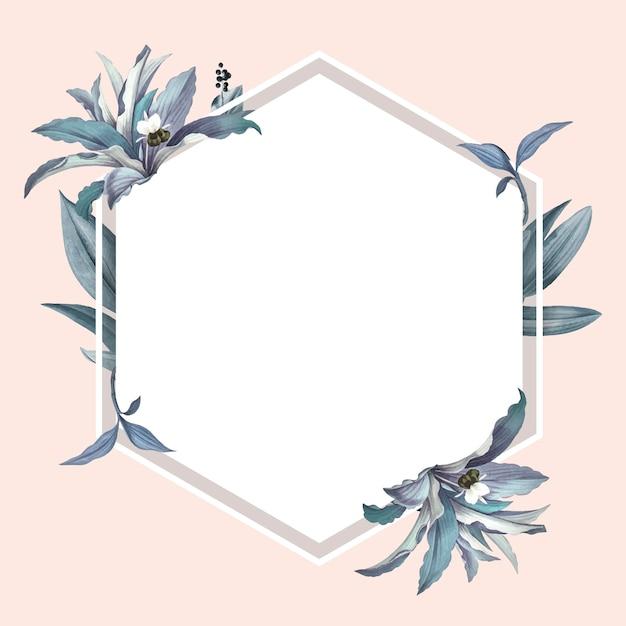 Marco vacío con vector de diseño de hojas azules vector gratuito