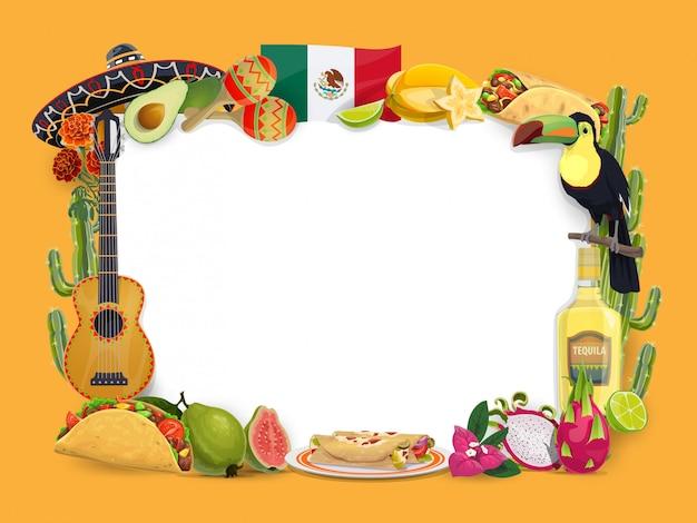 Marco de vector de cinco de mayo, frontera de fiesta mexicana Vector Premium