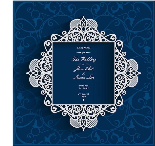 Marco De Vector De Tarjeta De Invitación De Boda Azul Marino