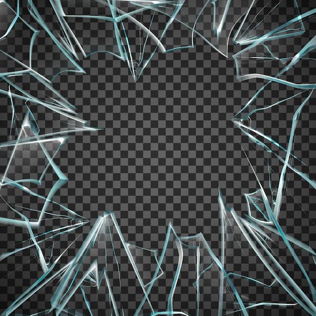 Marco de vidrio roto vector gratuito