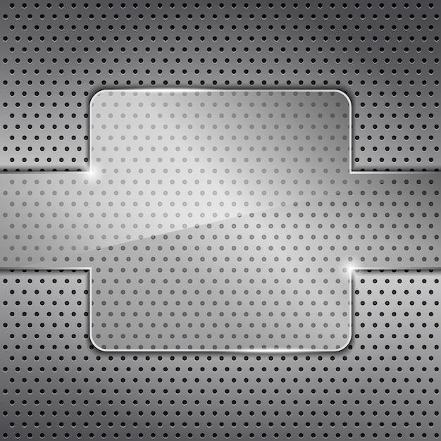 Marco de vidrio transparente sobre fondo de metal Vector Premium