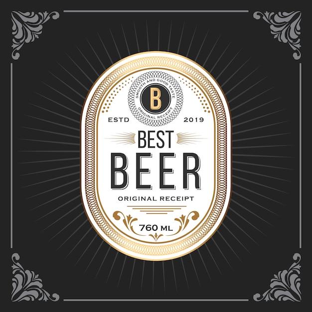 Marco vintage clásico para banner de etiquetas de cerveza Vector Premium
