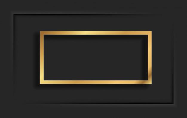 Marco vintage cuadrado dorado con sombra sobre fondo negro. borde rectangular de lujo dorado - ilustración realista Vector Premium