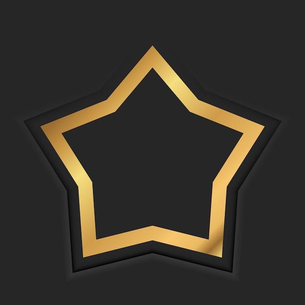 Marco vintage estrella de oro con sombra sobre fondo negro. frontera de lujo dorado Vector Premium