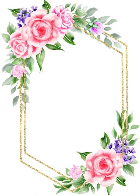 Marco Vintage Floral Acuarela Con Borde De Oro Vector Premium