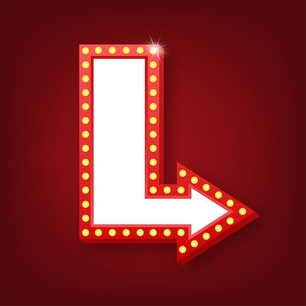 Marco vintage retro de la cartelera de la caja de luz. lightbox con personalizable. banner clásico para sus proyectos o publicidad. Vector Premium