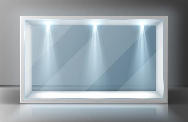 Marco de vitrina de pared de vidrio en exposición vacía vector gratuito