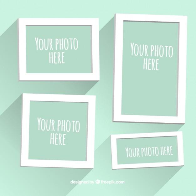 Marcos blancos planos de foto   Descargar Vectores Premium