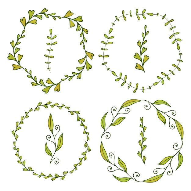 Marcos con hojas lindas. decoración de primavera para banners ...