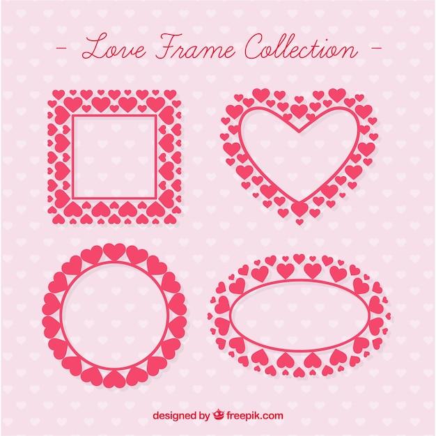 Marcos de amor hechos de corazones   Descargar Vectores gratis