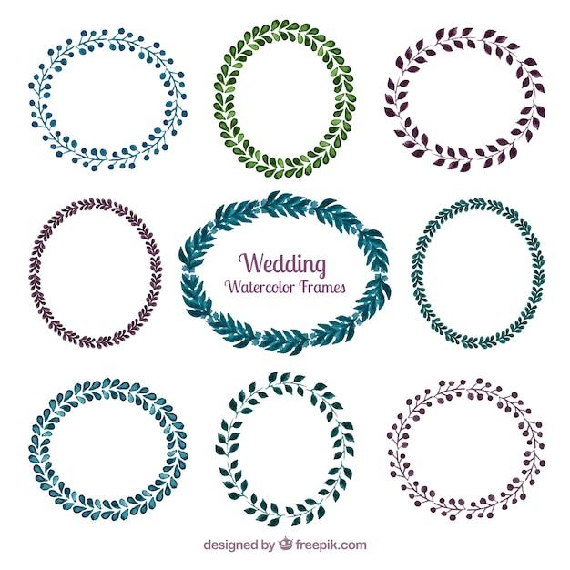 Marcos de boda de coronas florales de acuarela | Descargar Vectores ...