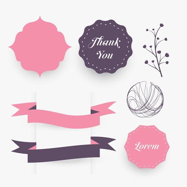 Marcos decorativos de elementos de diseño de boda, cintas y florales ...