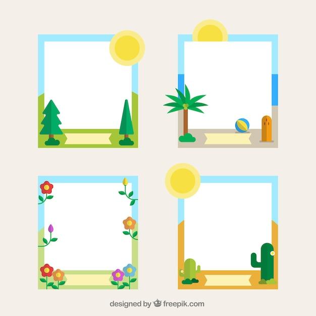 Marcos divertidos con elementos naturales | Descargar Vectores gratis