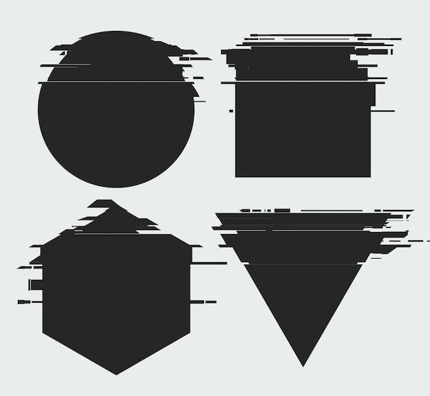 Marcos con efecto de distorsión de tv glitch y un lugar para texto, formas geométricas estrella, triángulo, círculo, cuadrado, rombo, aislado sobre fondo blanco, ilustración Vector Premium