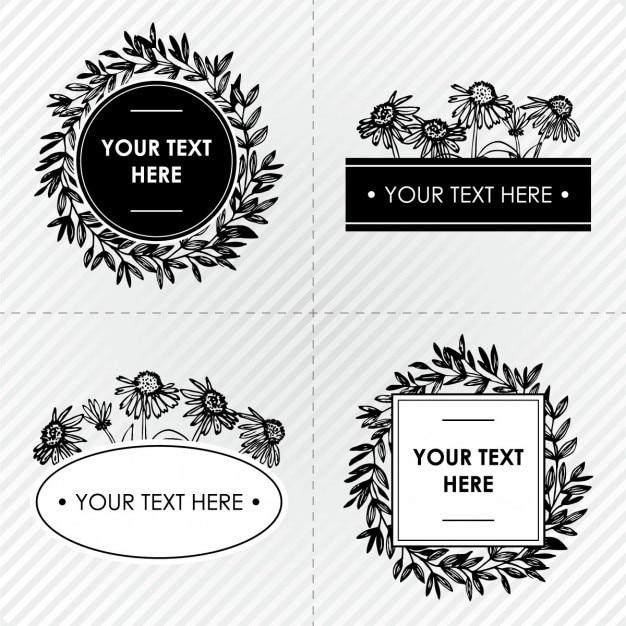Marcos florales blanco y negro | Descargar Vectores gratis