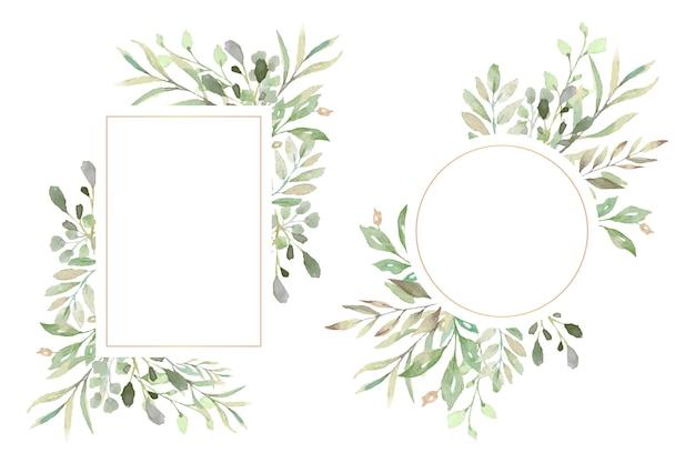 Marcos florales con hermosas hojas de acuarela vector gratuito