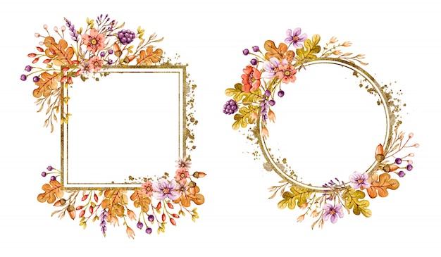 Marcos florales con hojas otoñales de roble, bellotas, bayas, flores y elementos florales en colores de otoño. Vector Premium