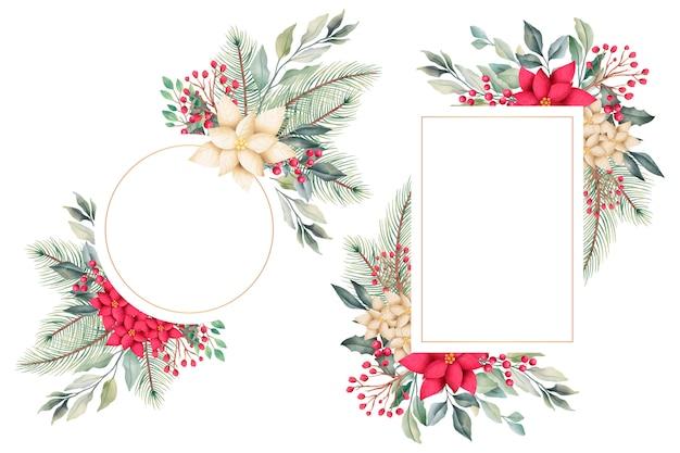 Marcos florales de navidad acuarela con naturaleza de invierno vector gratuito