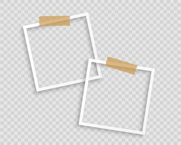 Marcos de fotos con cinta sobre fondo transparente vector gratuito