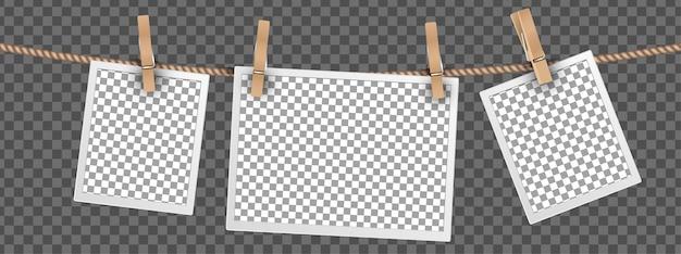 Marcos de fotos retro colgando de una cuerda aislada sobre fondo transparente, plantillas de marcos para fotos digitales conjunto de vectores Vector Premium