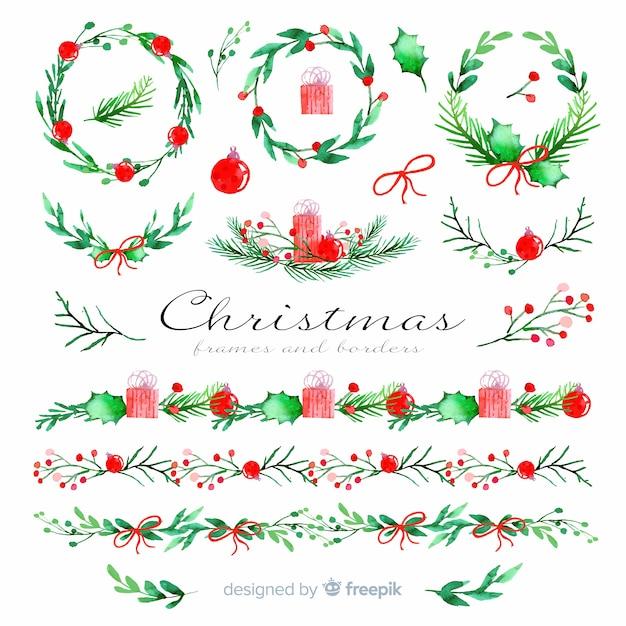 Marcos navideños y bordes en acuarela vector gratuito