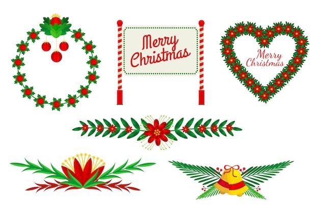 Marcos navideños y bordes en diseño plano vector gratuito