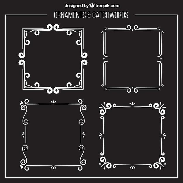 Marcos ornamentales de plata vector gratuito