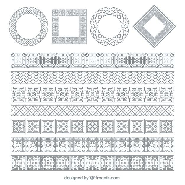 Marcos ornamentales plateados vector gratuito