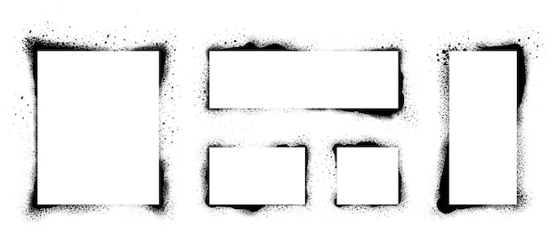 Marcos de plantilla de grunge. marco pintado con spray Vector Premium