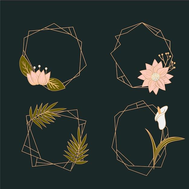 Marcos poligonales dorados con flores elegantes. vector gratuito
