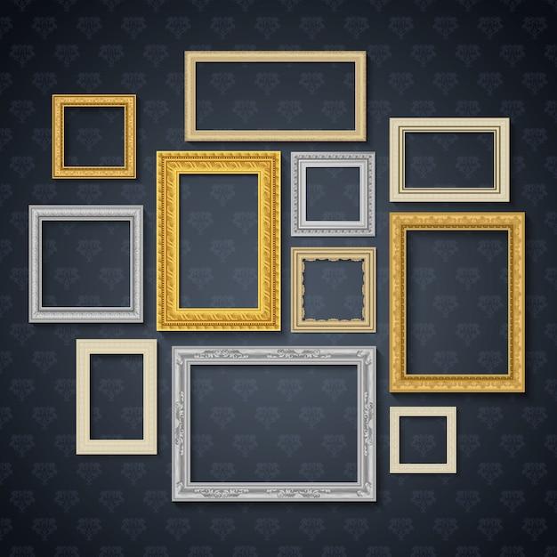Los marcos realistas tradicionales del vintage fijados en la pared oscura aislaron el ejemplo del vector vector gratuito