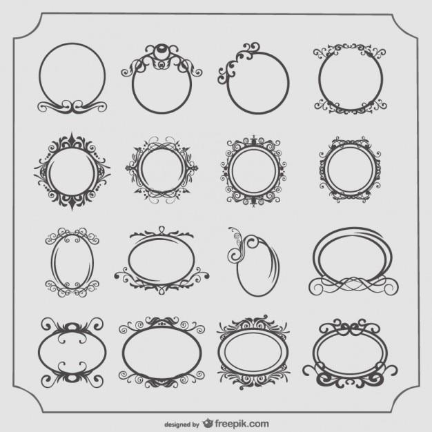 Marcos redondos y ovalados serie antigua vector gratuito