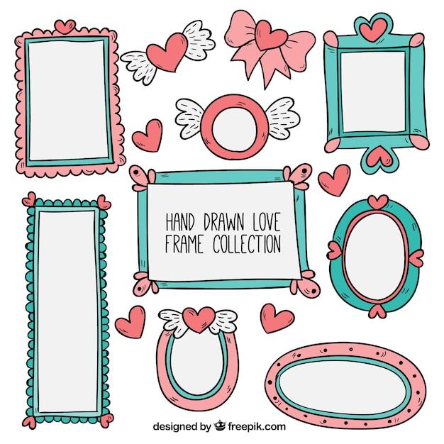 Marcos románticos dibujados a mano   Descargar Vectores gratis