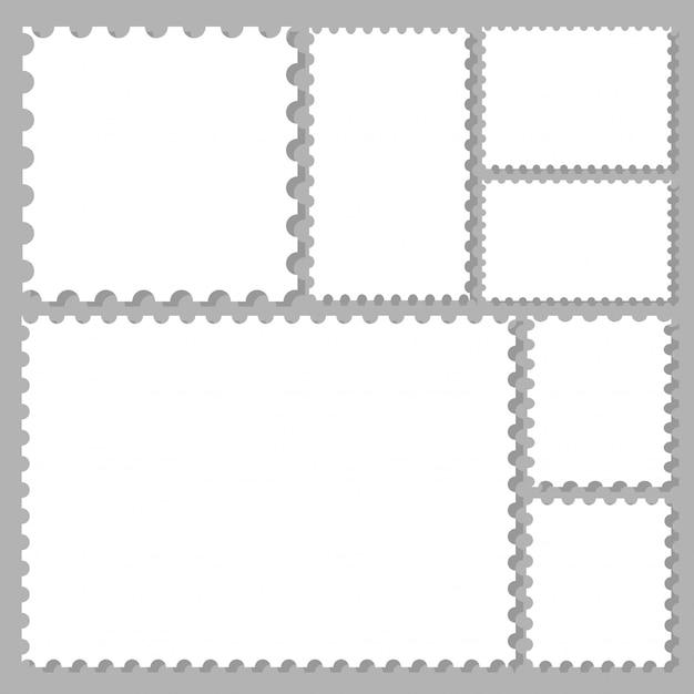 Marcos de sellos postales establecidos para etiquetas, adhesivos, aplicaciones, sellos postales y fondos de escritorio. Vector Premium