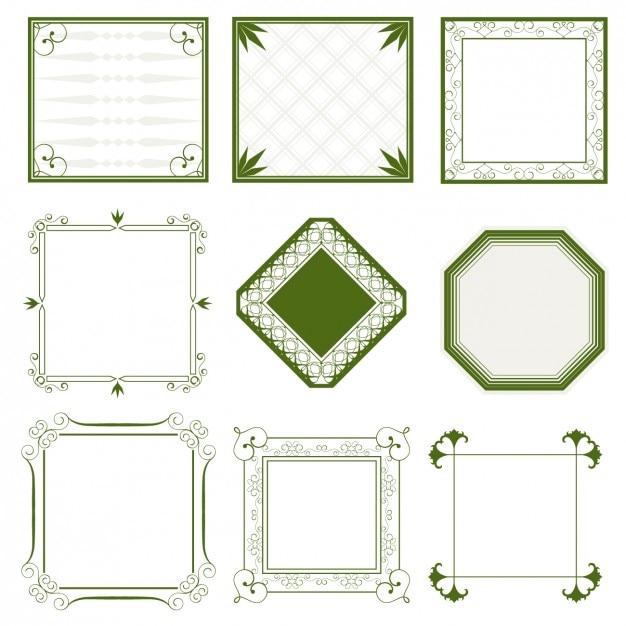 Marcos verdes ornamentales | Descargar Vectores gratis