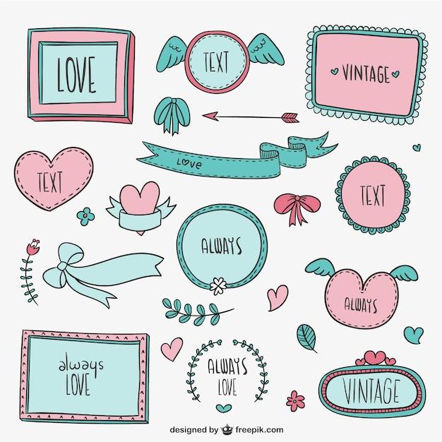 Marcos vintage y adornos de amor   Descargar Vectores gratis