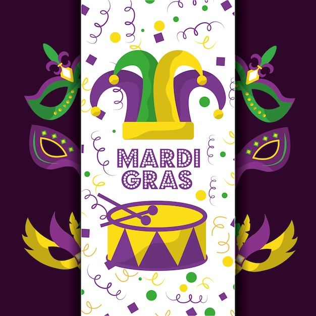 Mardi gras bufón sombrero tarjeta felicitación tambor máscaras decoración Vector Premium