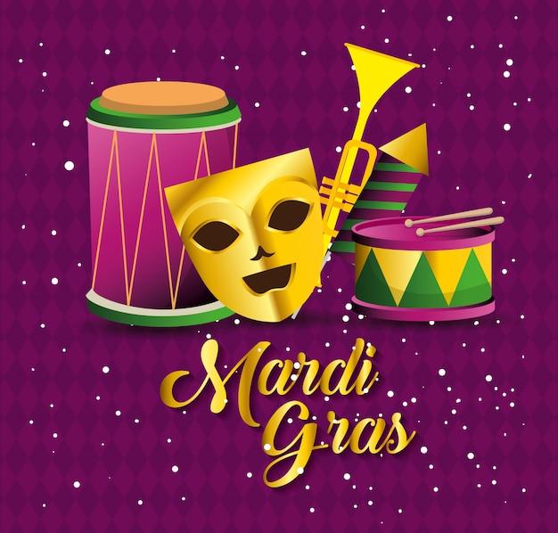 Mardi gras con máscara de fiesta e instrumentos. vector gratuito