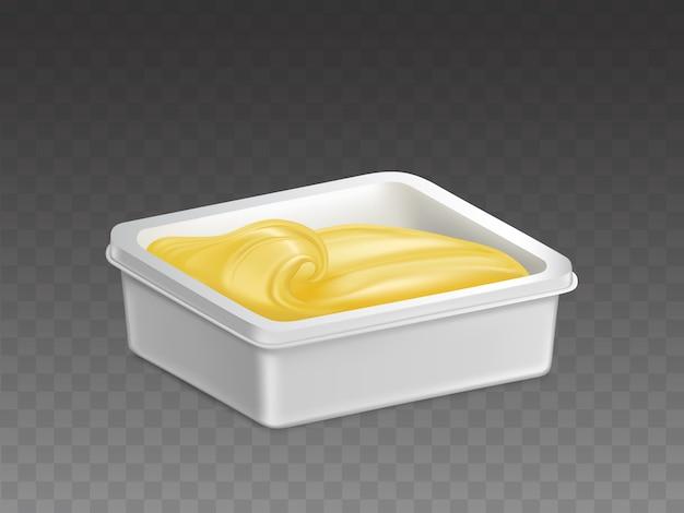 Margarina en vector realista de recipiente de plástico vector gratuito