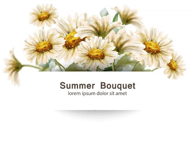 Margarita flores ramo acuarela. plantilla de tarjeta de ramos florales de decoración de verano Vector Premium