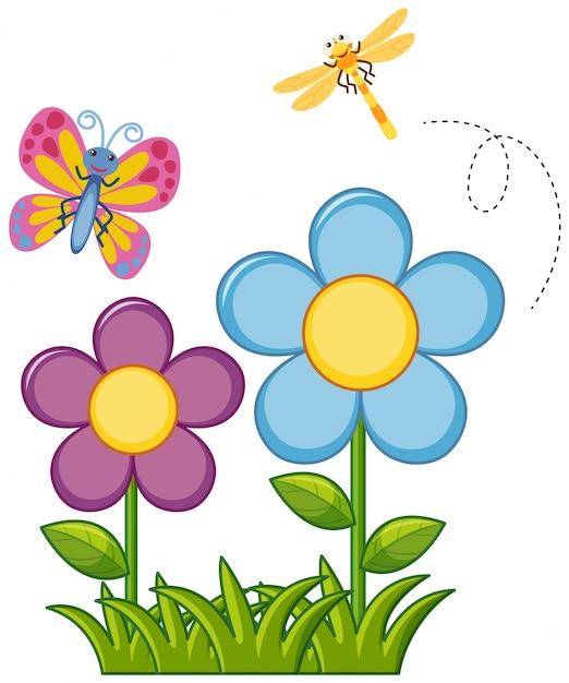Mariposa y libélula en el jardín de flores | Descargar Vectores Premium