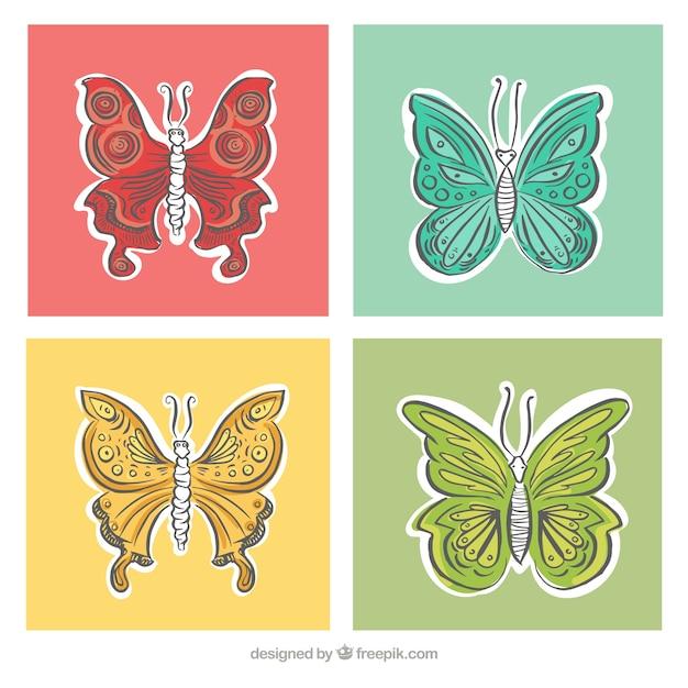Mariposas en diferentes colores y tamaños | Descargar Vectores gratis