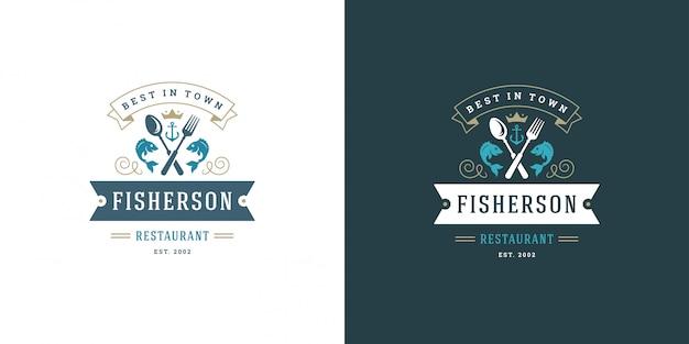 Mariscos logo o signo ilustración vectorial mercado de pescado y restaurante emblema diseño de plantilla pescado Vector Premium